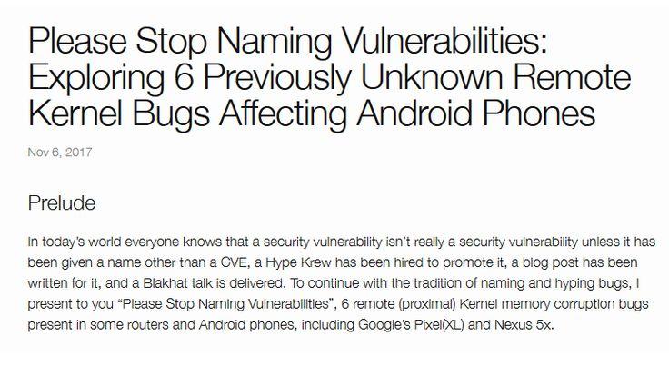 Qualcomm-Atheros: Android-November-Update schließt kritische WLAN-Treiber-Lücken https://www.heise.de/security/meldung/Qualcomm-Atheros-Android-November-Update-schliesst-kritische-WLAN-Treiber-Luecken-3881623.html?utm_content=bufferbb30d&utm_medium=social&utm_source=pinterest.com&utm_campaign=buffer