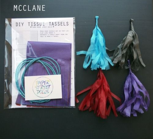 Our D.I.Y. tassel kits are a fun and creative way to add some new home or party decor!  MCCLANE kit:  blue, grey, red, deep lilac   Handmade party decorations Check out our store - paperstreetdolls.etsy.com