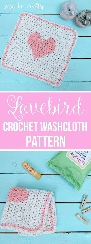 Lovebird Crochet Washcloth Pattern | Free Crochet Pattern by Just Be Crafty