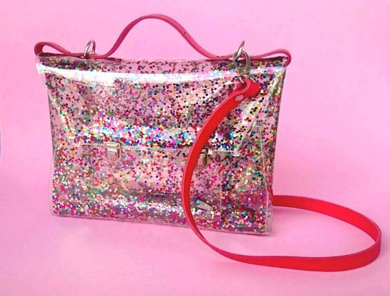 Ready to Ship Sequin bag confetti bag messenger transparent messenger 90s glitter clutch glitters sequins jelly rainbow purse evening bag party satchel This adorable bag made of transparent, high quality , recycling, resistant and waterproof PVC, vinyl foil. Unique and modern, perfect for back to school and for making the difference.  100% handmade in my workshop. This is no orinary messenger bag :) Unconventional addition to the date, wedding, unusual styling to each highlighting your…