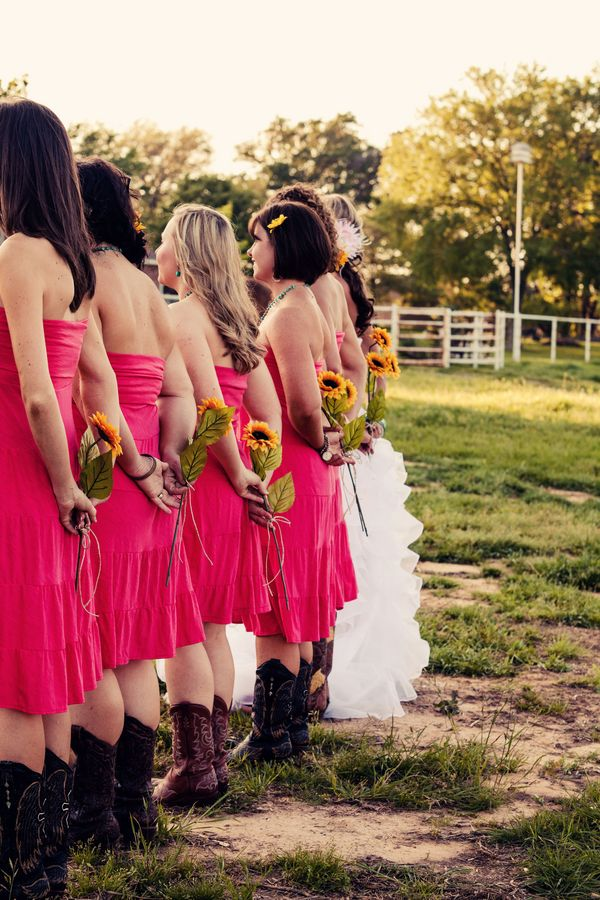Love the shorter dresses with the sunflowers!: Wedding Ideas, Country Wedding, Wedding Stuff, Bridesmaid, Dream Wedding, Bridal Session, Future Wedding, Boots, Pink Dress