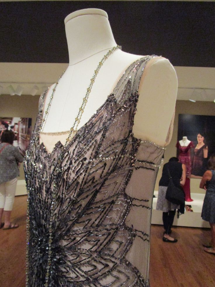 2016-08-26 Taft Museum Downton Abbey Exhibit - Mary Crawley's pink silk and black net evening gown (Season 2)