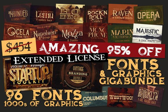 95% OFF - Fonts & Graphics GigaBundl by Cruzine on @creativemarket