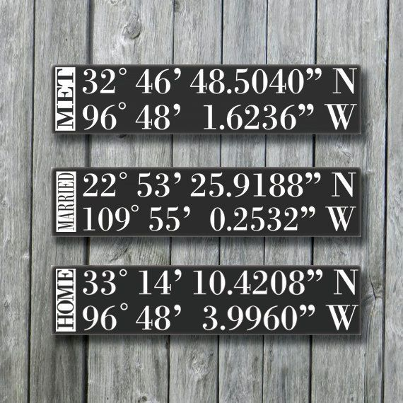 Personalized GPS Sign,GPS Coordinates Tell Your Love Story,Latitude Longitude,Wedding Gift