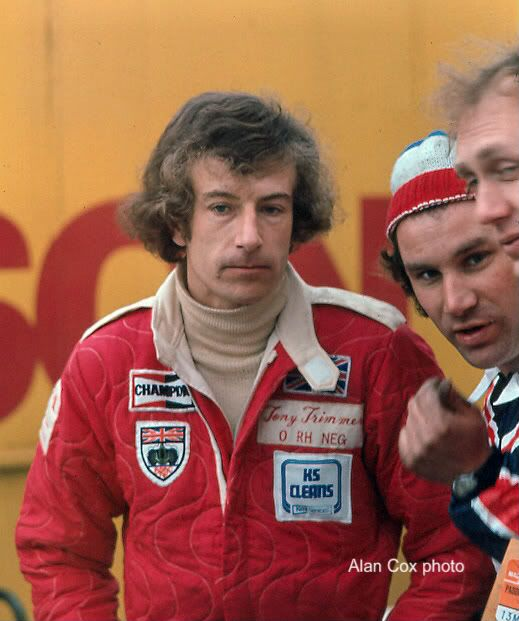 Talking of big hair, sometime Hesketh driver, Tony Trimmer, is rather blessed in that department. He's driving for Surtees here. Note the Niki Lauda-style overalls.