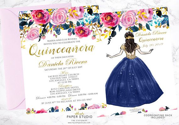 Spanish Invitation Quinceanera Personalized Pink Floral Invite Sweet