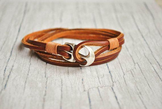 Brown leather anchor mens nautical bracelet   sailor bracelet   anchor wristband   pulsera hombre   anker armband   fish hook bracelet