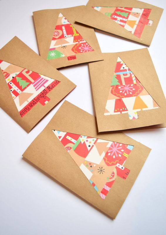 How to make Christmas cards using wrapping paper scraps