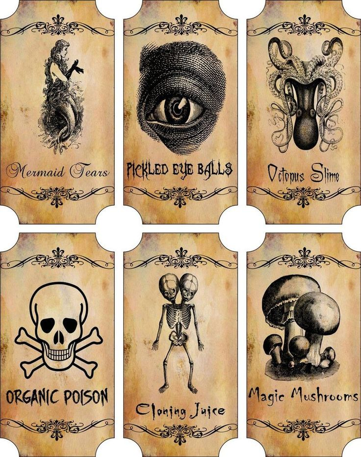 Vintage inspired Halloween sepia 6 large bottle label stickers apothecary labels #HandCrafted #Halloween