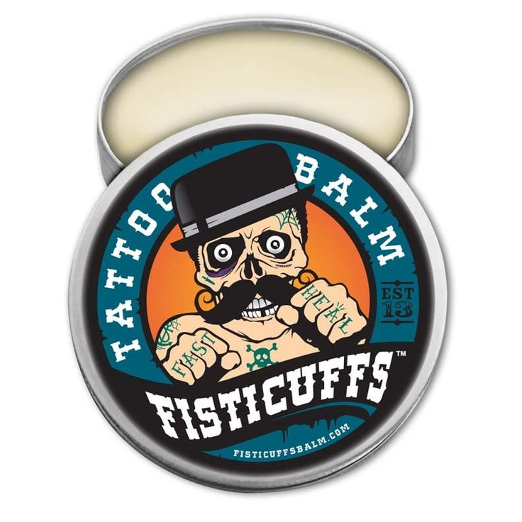***FREE US SHIPPING***Fisticuffs Tattoo Balm   Heal Fast Tattoo aftercare balm is comprised of only the highest quality ingredients and is specially formulated to aid in keeping your Tattoos healthy and nourished during the healing process. (contains NO petroleum jelly)We have used an array of All Natural ingredients to help with issues like SWELLING, BACTERIA, PAIN, CRACKING, SKIN DAMAGEDirections for use:1. Clean Tattoo with soap and water and pat d...