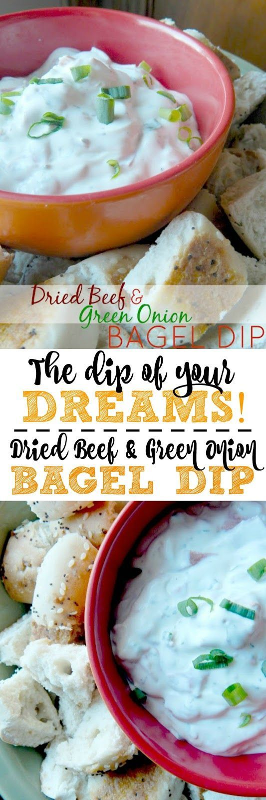 Dried Beef and Green Onion Bagel Dip. Great for any game, party or tailgate party!