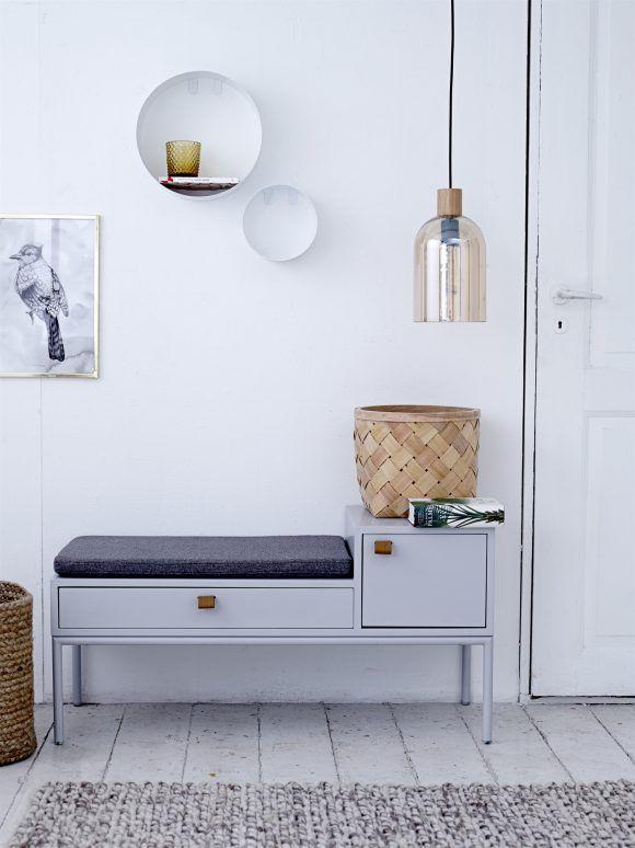Bank PHONE grau mit Polster und Aufbewahrung, perfekte Flurmöbel, Design minimalistisch, skandinav. Stil & Funktion 50er Jahre inspirert, JETZT KAUFEN !