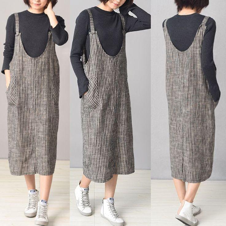 Frauen Streifen Spaghetti Strap Pocket Vintage Kleider Online – NewChic Mobile