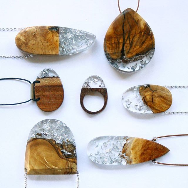 Australian wood + transparent resin + silver leaf  BoldB.etsy.com  #BoldB…