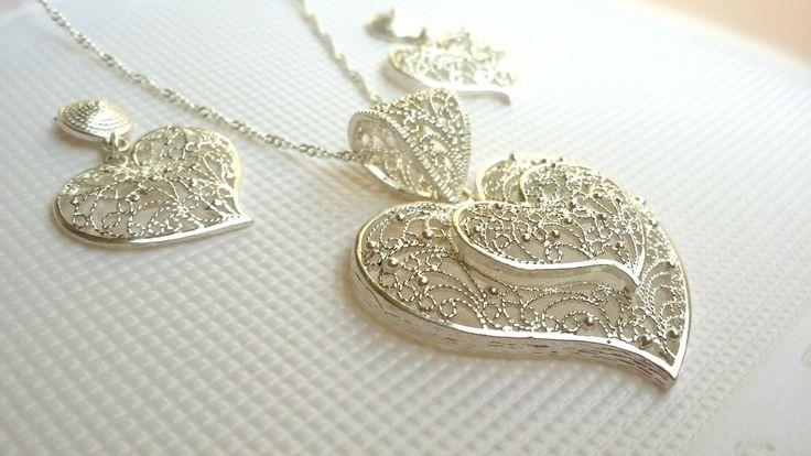 Heart shaped silver filigree set