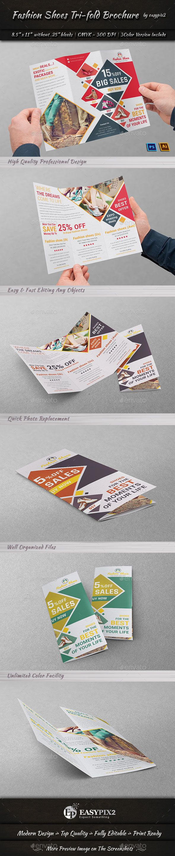 Fashion Shoes Tri-fold Brochure Template PSD, Vector EPS, AI Illustrator, TIFF Image. Download here: http://graphicriver.net/item/fashion-shoes-trifold-brochure/16658309?ref=ksioks