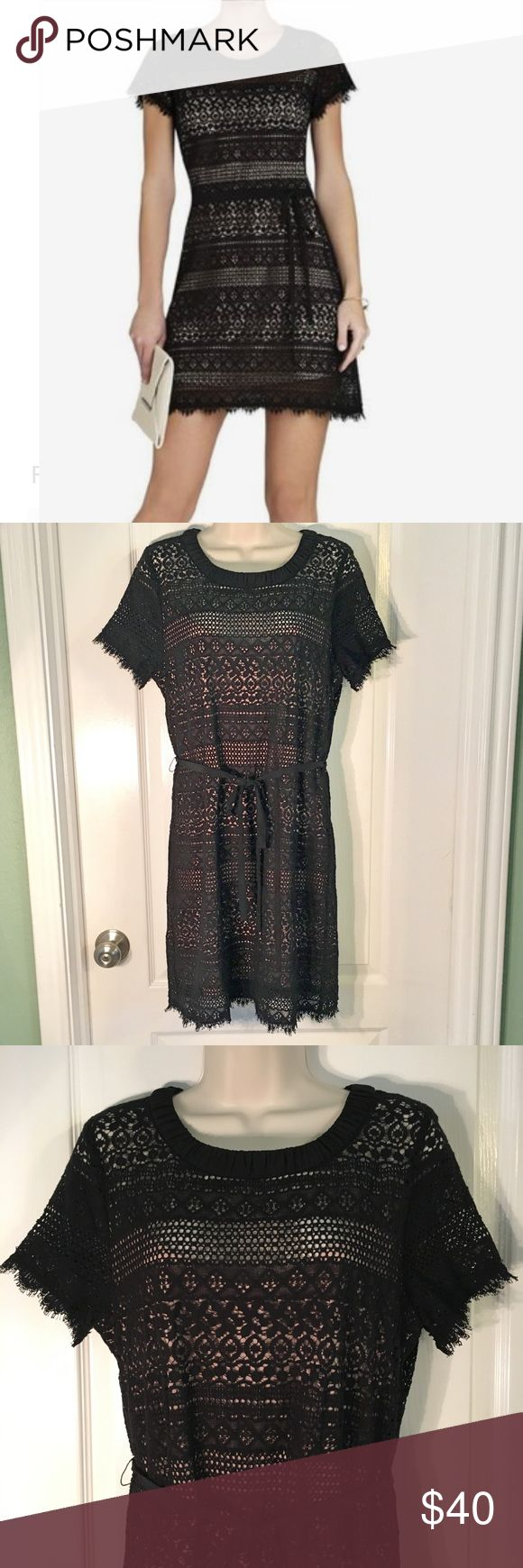 """BCBG Max Azria Cocktail Dress BCBG Max Azria Cocktail Dress ~ Black Lace With Nude Silk Slip ~ Size 8 ~ UA to UA is approximately 19"""" ~ Waist is approximately 16 1/2"""" ~ Length is approximately 35"""" ~ Handwash ~ Fabric is 76% Cotton & 24% Nylon / 100% Silk ~ Only flaw is on Slip - Light Black Spots - See last picture ~ Absolutely Beautiful Dress BCBGMaxAzria Dresses"""