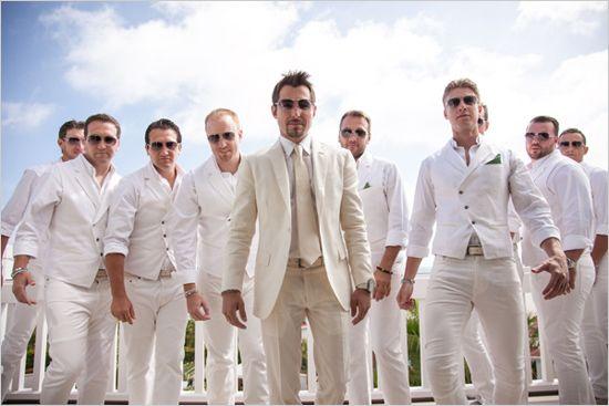 all white groomsmen - Elegant Hotel Del Coronado Wedding -Shewanders Photography on Wedding Chicks