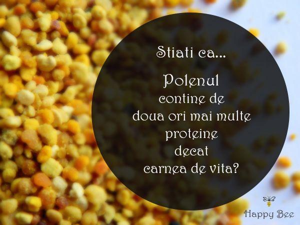Stiati ca...  Polenul contine de doua ori mai multe proteine decat carnea de vita? www.happybee.ro