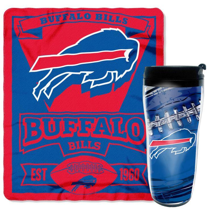 NFL Bills Mug 'n Snug /Red Travel Mug and Fleece Throw Set