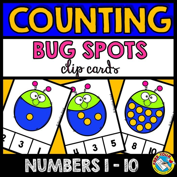 FREE COUNTING CENTER  BUG THEME COUNTING ACTIVITIES (NUMBERS 1-10)  This hands-on fun pack, containing 10 task cards, is an ideal resource for your Math Center. Children have to count the spots (1-10) on each bug and clip the clothes pin onto the corresponding number. The perfect resource to motivate your students!