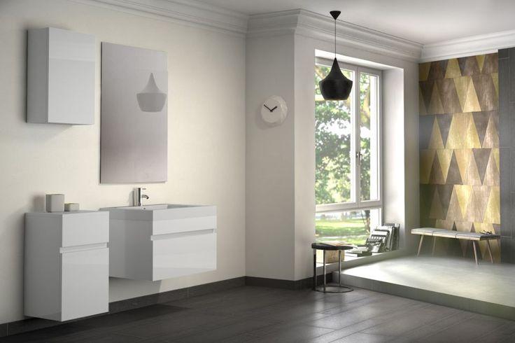 Badmöbelset PANDORA 4tlg - Hochglanz weiß - 70 cm mit Spiegel