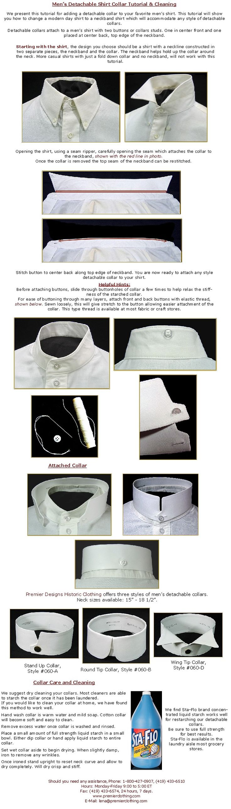 35-Men's Detachable Collar Instructions & Cleaning