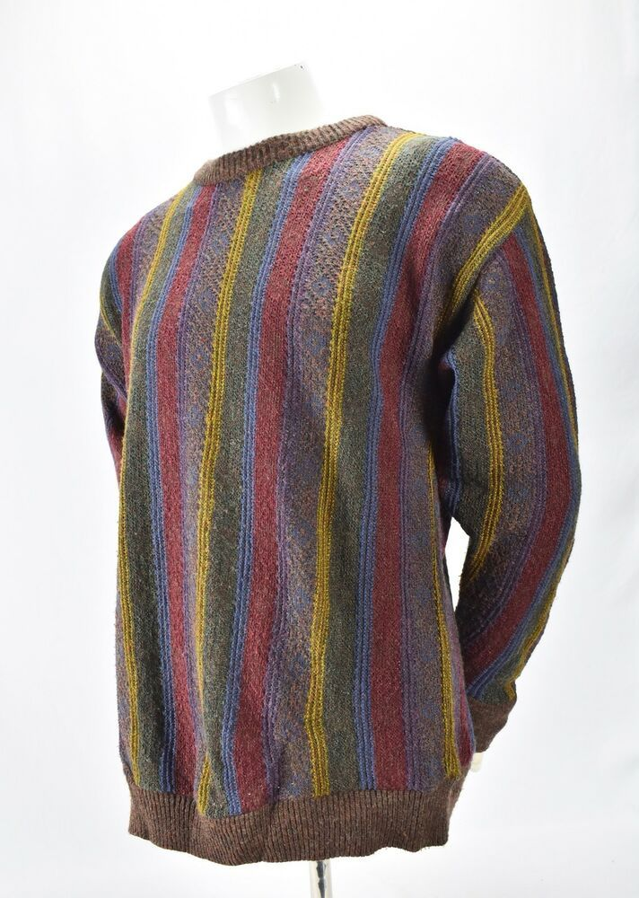 f43109d56c9ec3 Jantzen Classics Vintage Mens Large Knit Sweater Multi Color Acrylic Striped   Jantzen