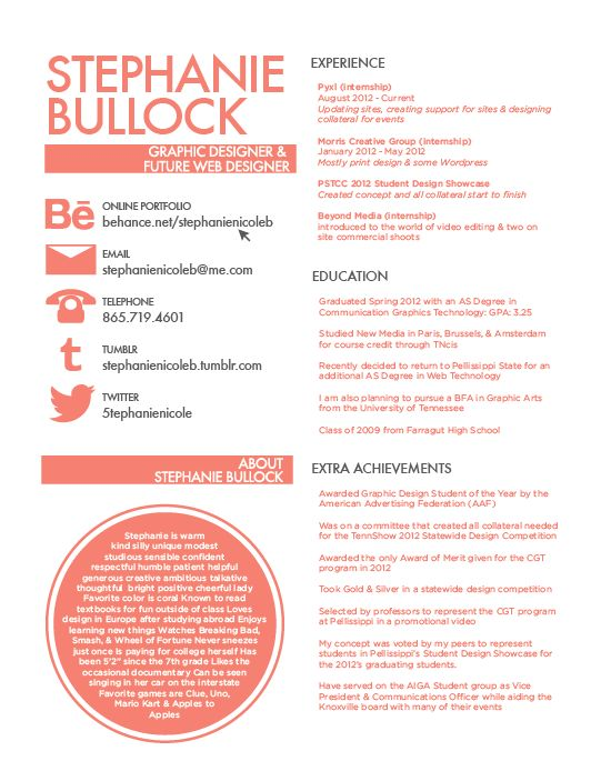 resume by stephanie bullock via behance follow the link to see the design process page