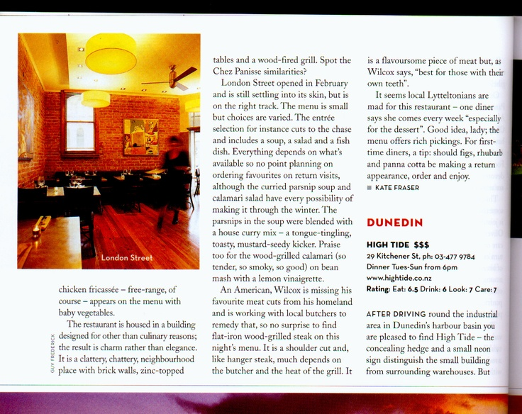 Cuisine magazine's review - Kate Fraser sort of knows what she's talking about but then again sort of does not.