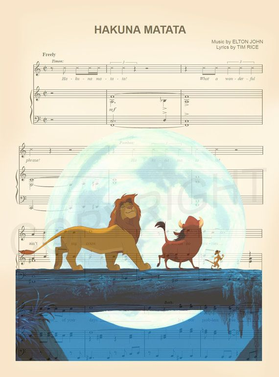 Le Lion Roi Hakuna Matata partition de musique Art par AmourPrints