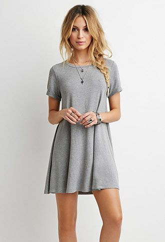 Heathered T-Shirt Dress | Forever 21 - 2000179322 - in BLACK too! #forever21