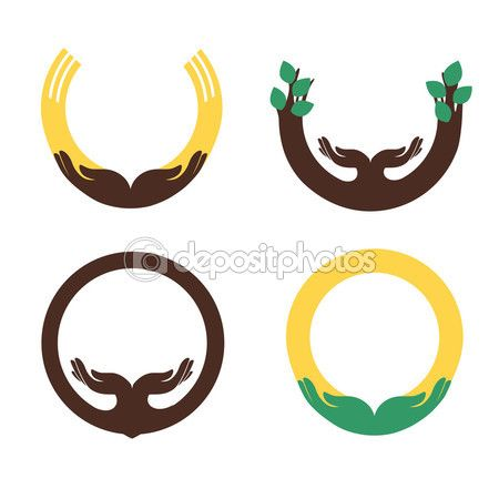 Некоторые круглые символы с человеческой ладони для дизайна — стоковая иллюстрация #75843569