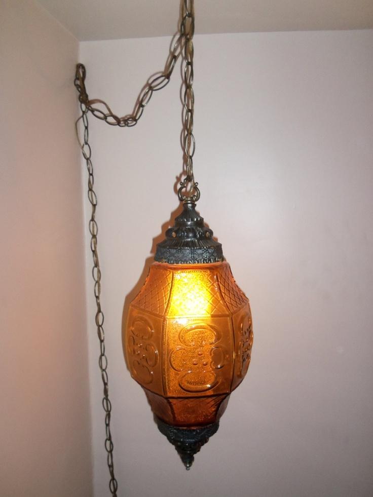 vintage midcentury art deco amber glass plug in swag lamp 95. Black Bedroom Furniture Sets. Home Design Ideas