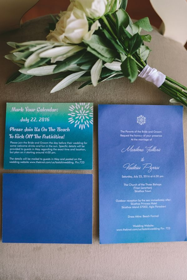 Destination wedding invitations | Luxury wedding in Skiathos