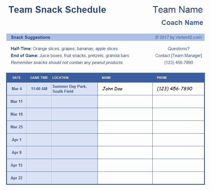 Soccer Snack Schedule Template Awesome Sign Up Sheets Potluck Sign Up Sheet In 2020 Team Snacks Team Mom Team Schedule