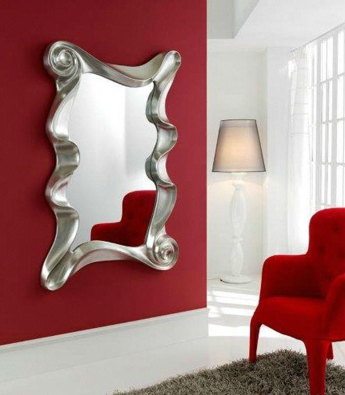 espejo vestidor de forma rectangular con marco de dm lacado en plata estilo moderno