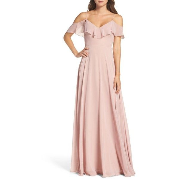 Women's Jenny Yoo Cold Shoulder Chiffon Gown ($285) ❤ liked on Polyvore featuring dresses, gowns, whipped apricot, draped gown, cold shoulder dresses, pink gown, chiffon gowns and pink chiffon dresses