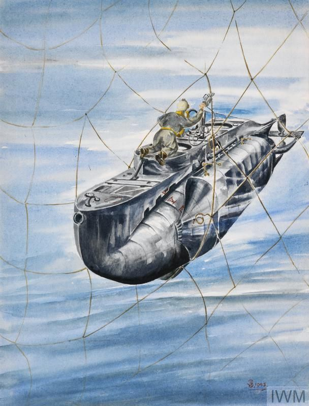 HM Submarine X24 by J. Brooks:  A diver cutting through an anti-submarine net with a pneumatic cutter as the midget submarine moves through the hole in the net.