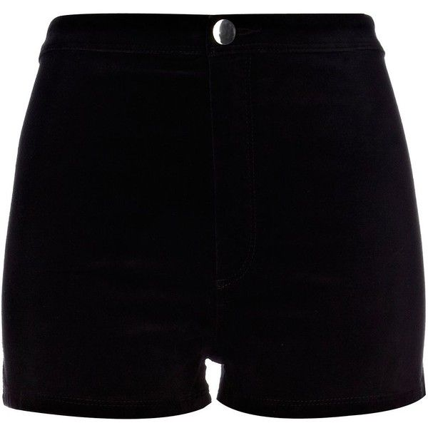 River Island Black velvet smart shorts (£10) ❤ liked on Polyvore featuring shorts, bottoms, short, pants, velvet shorts, short shorts, river island and river island shorts