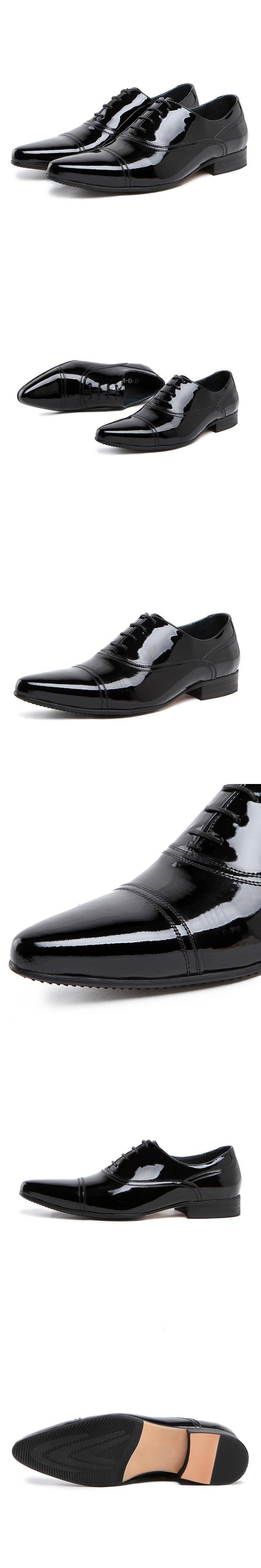 2015 new spring and autumn fashion Men's full grain patent leather England Pointed toe Business dress solid office oxfords shoes