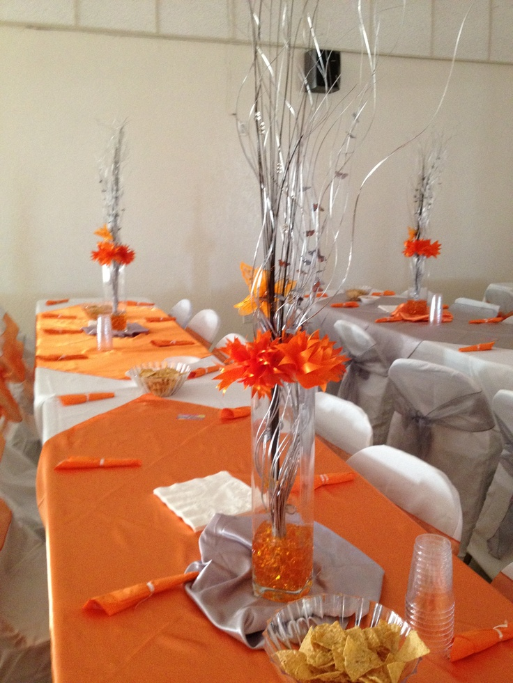 Niece 39 s sweet 16 decorations orange silver theme for 16 birthday decoration