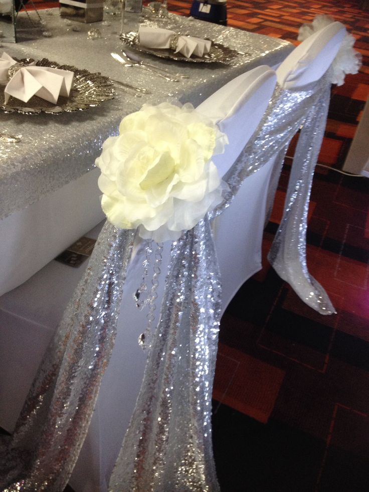 Chair decorations, sequin chair sashes floral chair decor, crystal droplets