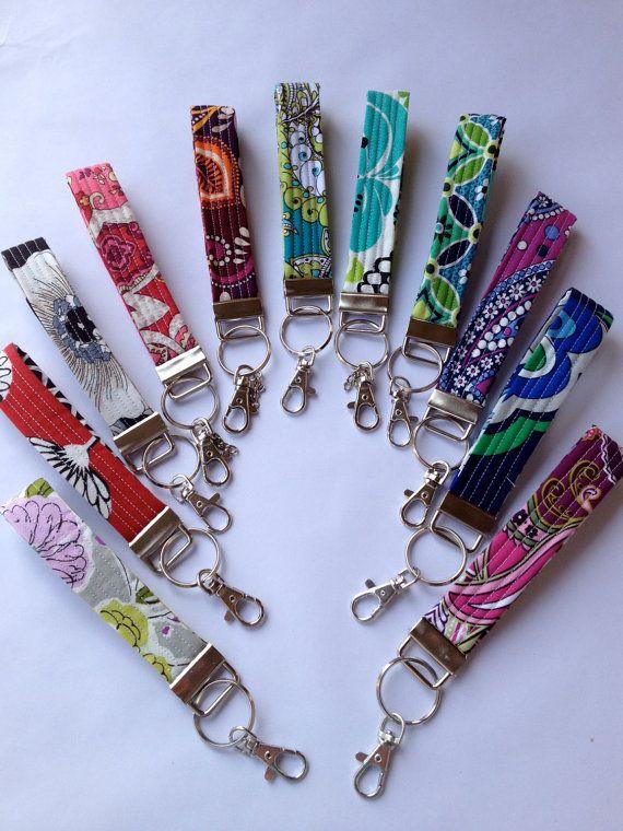 Vera Bradley Fabric Key fob Wristlet Key Chain Zipper by Pedalgirl... Works great for work keys!!