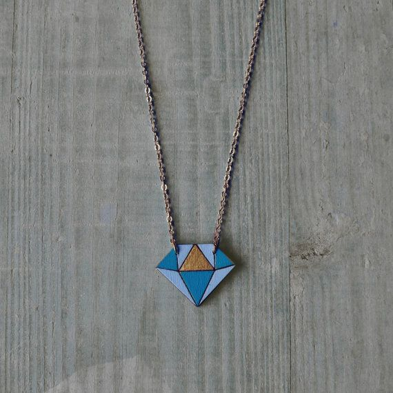 Diamond wood necklace  DIAMOND by AMEjewels on Etsy, €10.00