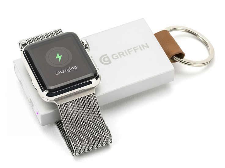 Travel Power Bank for Apple Watch, front with Apple Watch