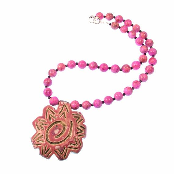 Stoneware Pottery Pink Spiral Necklace  by lovepotteringaround