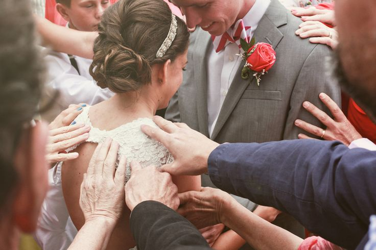 have your wedding party and friends join in prayer over your marriage. LOVE THAT. My addition- Do this after the first kiss but BEFORE the pastor pronounces you man and wife. :-)