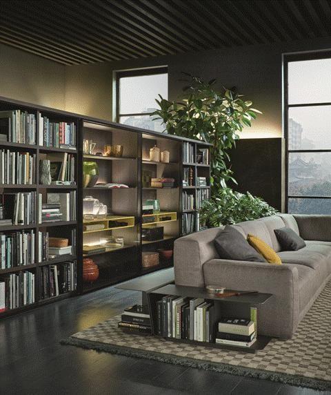 POLIFORM: Wall System bookcase, Paris-Seoul sofa and Paris-Seoul side tables