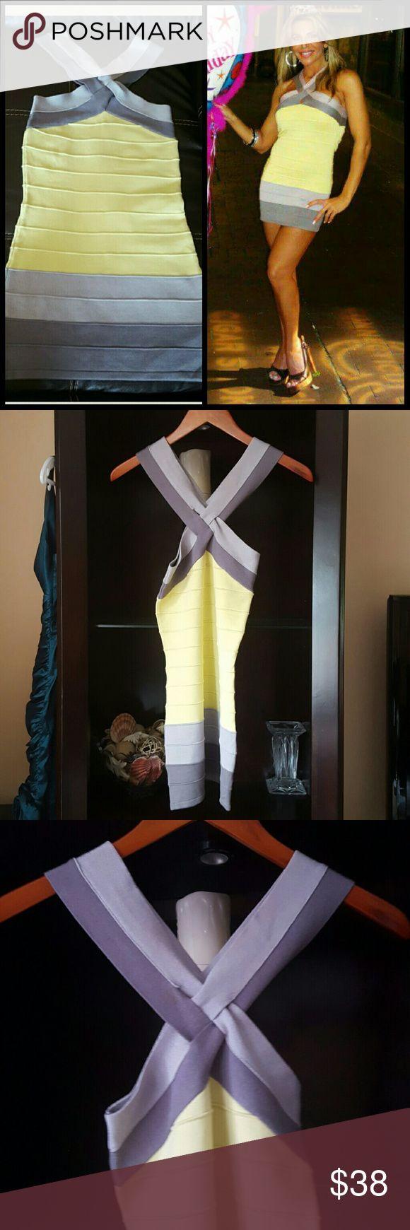 Selling this Lemon yellow/gray bandage dress SZ S in my Poshmark closet! My username is: lulouperry. #shopmycloset #poshmark #fashion #shopping #style #forsale #Hot Miami Style  #Dresses & Skirts